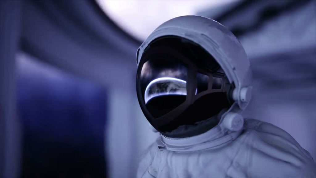 Time traveler in space suite...