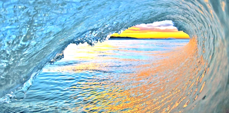 Surfing inside the curl