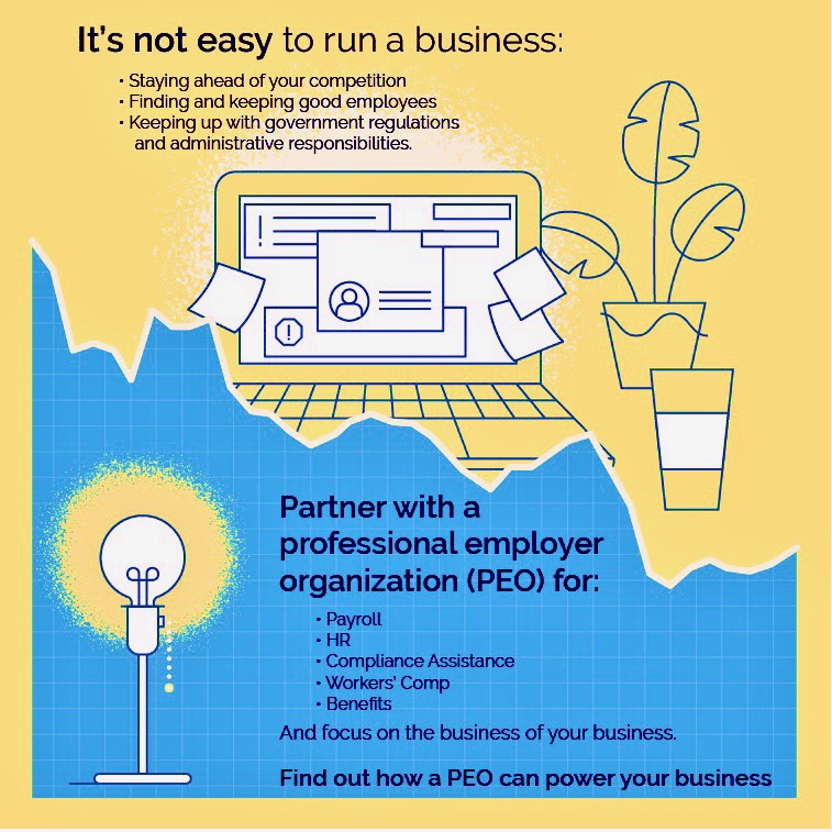 It's not easy to run a business. Staying ahead of your competition. Finding and keeping good employees. Keeping up with government regulations and administrative responsibilities. Partner with a professional employer organization (PEO) for: Payroll, HR, Compliance Assistance, Workers' Comp, Benefits, and focus on the business of your business. Find out how a PEO can power your business.