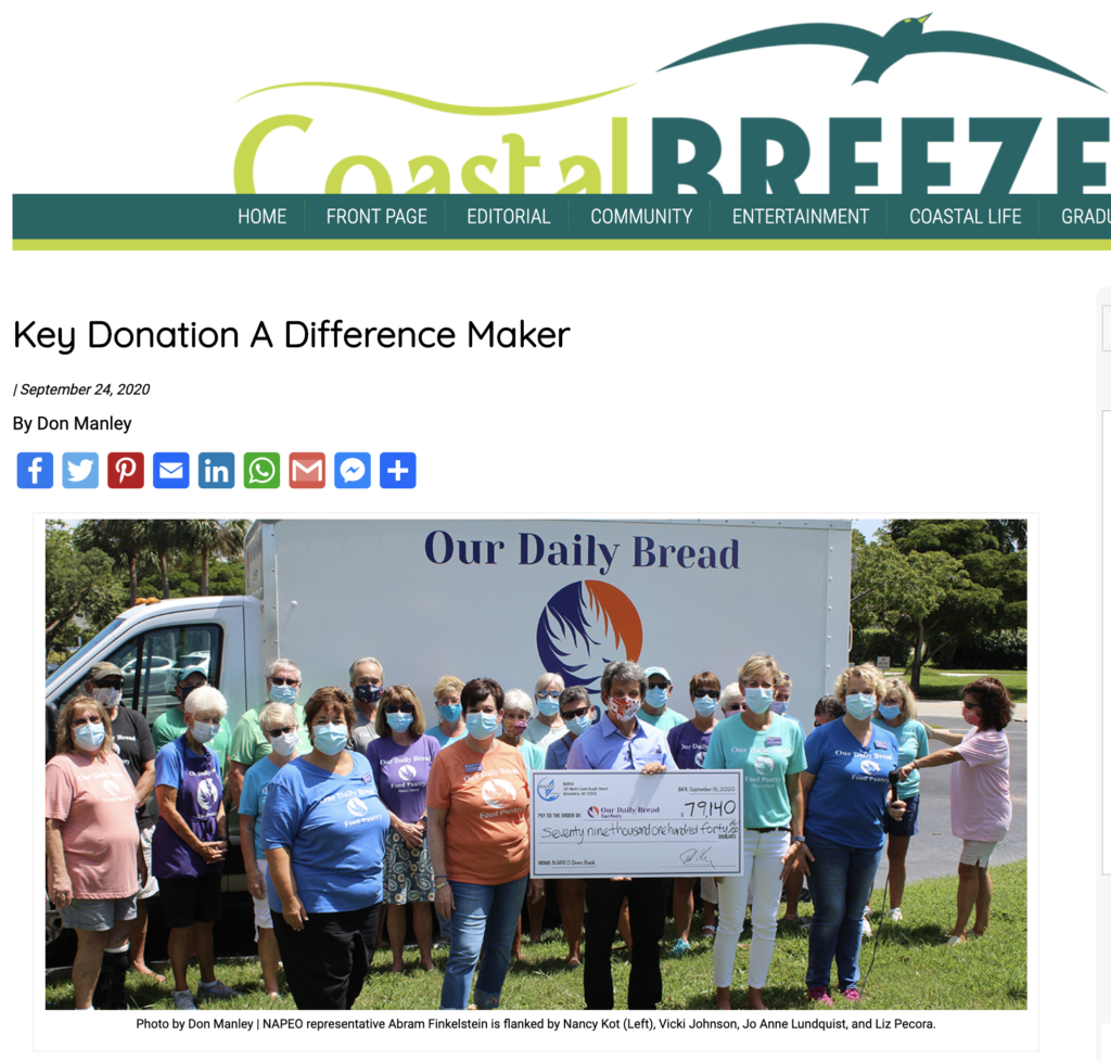 Coastal Breeze Website: Key Donation a Difference Maker